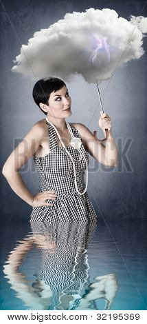 pin-up girl with cloud umbrella under stormy weather with reflection in water