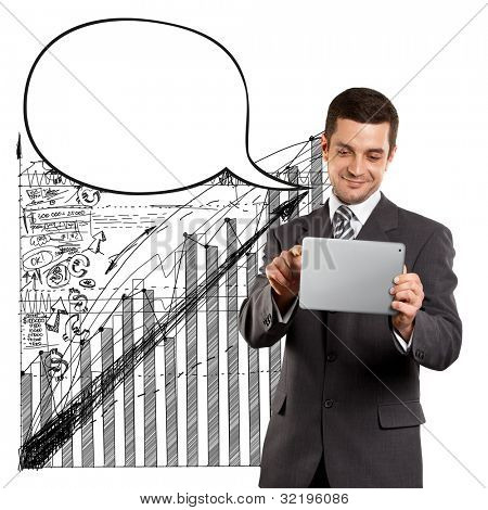 Business man with speech bubble, looking on camera