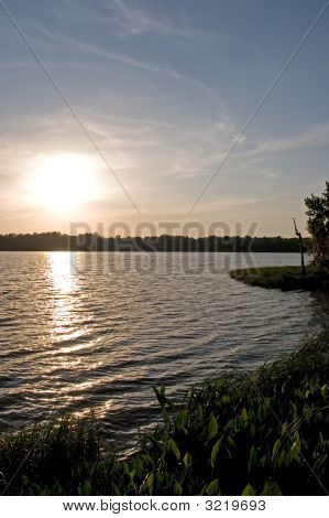 Sunset Over Lake Wauberg In Florida