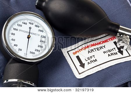 Photo of a Sphygmomanometer, the medical tool used to measure blood pressure.