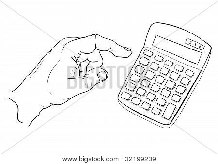 Mans hand pressing calculator button