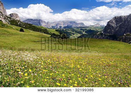 view from passo gardena alias grodner joch - sella gruppe dolomiti italy