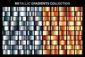 Silver And Orange Bronze Glossy Gradient, Metal Foil Texture. Color Swatch Set. Collection Of High Q poster