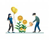 Investment And Finance Growth Business Concept. Growing Money Tree, Growth Gold Coins On Branches Sy poster