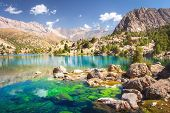 Alaudin Lake In Fann Mountains, Tajikistan. Fan Mountains With Turquoise Water In Lakes On Clear Day poster