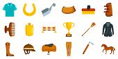 Horseback Riding Icon Set. Flat Set Of Horseback Riding Vector Icons For Web Design poster
