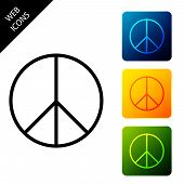 Peace Sign Icon Isolated. Hippie Symbol Of Peace. Set Icons Colorful Square Buttons. Vector Illustra poster