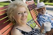 image of lawn chair  - Senior Couple in Lawn Chair - JPG