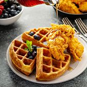 Waffles With Fried Chicken And Maple Syrup, Southern Comfort Food poster