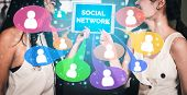 Social Media And People Network Technology Concept poster