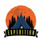 Adventure Night Expedition Campfire Camping Camp Logo Design Vector poster