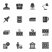 Bank Office Vector Icons Set, Modern Solid Symbol Collection Filled Style Pictogram Pack. Signs Logo poster