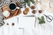 Christmas, Winter Composition. Blank Greeting Card Mock-up Scene. Cup Of Coffee, Gift Box, Pine Cone poster