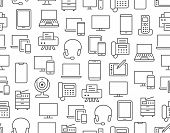 Devices Seamless Pattern With Flat Line Icons. Electronics Background - Pc, Laptop, Computer, Smartp poster