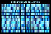Blue, Azure Glossy Gradient, Metal Foil Texture. Color Swatch Set. Collection Of High Quality Vector poster