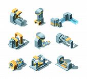Industry Machines. Machinery Production Working Factory Equipment Grinder Crane Saw Vector Heavy Ind poster