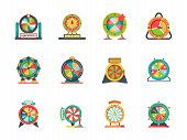 Wheel Fortune Icon. Circle Objects Of Lucky Spinning Roulette Vector Lottery Wheels Collection. Fort poster