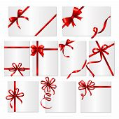 Gift Cards Ribbons. Frames Or Banners With Red Silk Ribbons And Bows Vector Template. Card With Red  poster