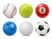Sport Equipment. Realistic Balls Billiard Football Tennis Baseball Golf And Bowling Vector Collectio poster