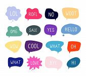 Bubble Talk Phrases. Online Chat Clouds With Different Words Comments Information Shapes Vector. Ill poster