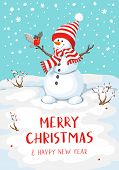 Vector Snowman With Bird. Snowman Greeting. Cute Christmas Greeting Card With Snowman And Bullfinch. poster
