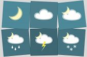 Weather Night Icon Moon Cloud Rain Lightning Snow Night Simple Isolated On Blue Background Icon Symb poster