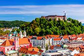 Ljubljana, Slovenia. Old Town And The Medieval Castle. poster