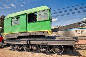 Railway Crane On The Platform. Special Construction Train For Maintenance Of Railway, Rail, Sleepers poster