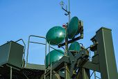 Antennas Of Russian Military Mobile Communications Station, Satellite Antennas For Internet Broadcas poster