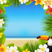 Summer Tropical Beach With Sea And Sand With Tropical Leaves poster