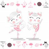 Love Ballet. A Pair Of Cute White Ballerina Cats In Pink Ballet Tutu And Pointe poster