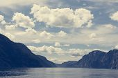 Norwegian Fjord And Mountains In Summer. Lysefjord, Norway poster