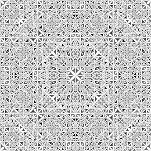 Grey Seamless Kaleidoscope Pattern Background - Abstract Symmetrical Vector Wallpaper Illustration W poster