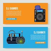 Dj Music Vector Illustration. Music Party Two Banners Set. Web Dj S Desks With Record Player And Mus poster