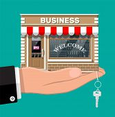 Hand Holding Shop Or Commercial Property With Key. Real Estate Business Promotional, Startup. Sellin poster