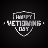 Happy Veterans Day Concept Background With Shield And Stars. Illustration Of Happy Veterans Day Vect poster