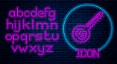 Glowing Neon Cryptocurrency Key Icon Isolated On Brick Wall Background. Concept Of Cyber Security Or poster