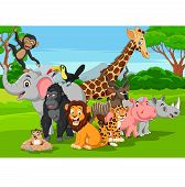 Vector Illustration Of Cartoon Wild Animals In The Jungle poster