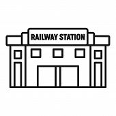 Glass Railway Station Icon. Outline Glass Railway Station Vector Icon For Web Design Isolated On Whi poster