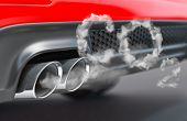 Car pipe with co2 carbon dioxide emissions. Combustion fumes coming out of car exhaust pipe. 3d illu poster