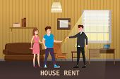 Young Happy Couple Accepting House Rent. Real Estate Concept. Sale Or Rent New Home Service. Modern  poster