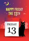 Illustration Of A Black Cat Sitting Next To A Calendar Date 13 On A Mysterious Red Background poster