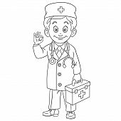 Colouring Page. Cute Cartoon Doctor, Young Doc With First Aid Kit Showing Okay Hand Sign. Childish D poster