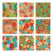 Vintage Floral Seamless Patterns Set. Psychedelic Or Hippie Style Backgrounds. Abstract Flowers And  poster