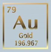 Gold Element Number 79 Of The Periodic Table Of The Elements - Chemistry Vector Illustration Eps 10 poster