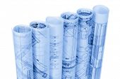 picture of blueprints  - rolls of architecture blueprints  - JPG