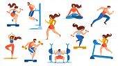 Summer Time Sport Activities Set Isolated On White Background. Sportsmen, Sportswomen Characters Wor poster