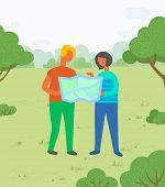 Travelers Or Hikers, Couple With Map, Vacation Or Holidays Vector. Man And Woman In Park, Exploring  poster