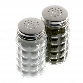 stock photo of salt shaker  - Salt and pepper shakers on white background - JPG