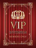 Vip Invitation Vector, Crown And Royal Signs Service For Members Only. Frame With Golden Elements, B poster